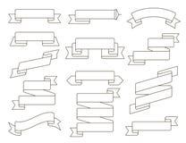 Línea plana sistema de la cinta del vector Colección de diversas banderas de la cinta El vintage diseñó cintas y la plantilla de  Imagen de archivo
