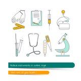 Línea plana sistema del icono de instrumentos médicos Imágenes de archivo libres de regalías