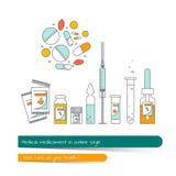 Línea plana sistema del icono del medicamento Fotografía de archivo