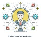 Línea plana Team Building y concepto de la gestión de recursos Ilustración del vector Imagen de archivo