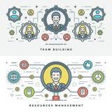 Línea plana Team Building y gestión Ilustración del vector Imagen de archivo libre de regalías
