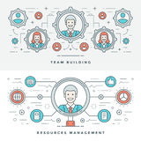 Línea plana Team Building y gestión Ilustración del vector Imagenes de archivo