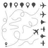 Línea plana trayectoria Camino direccional del aeroplano, rastro punteado mapa y dirección de la mosca Símbolos del vector de los libre illustration