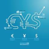 Línea plantilla de la moneda del dinero del diagrama del negocio del estilo. Fotografía de archivo