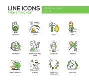 Línea prehistórica iconos de la edad del diseño fijados stock de ilustración