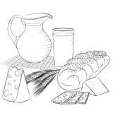 Línea productos lácteos y pan del arte Imagen de archivo