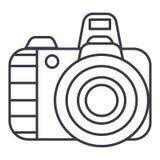 Línea profesional icono, muestra, ejemplo del vector de la cámara de la foto en el fondo, movimientos editable libre illustration