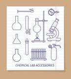 Línea química iconos de los accesorios del laboratorio stock de ilustración