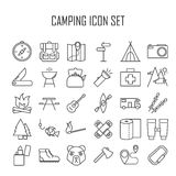 Línea que acampa iconos libre illustration