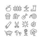 Línea que cultiva un huerto iconos ilustración del vector
