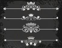 Línea real de la regla con las coronas Fotos de archivo