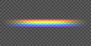 Línea recta del arco iris del vector, ejemplo brillante en el fondo oscuro, línea transparente ilustración del vector