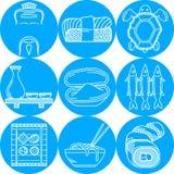 Línea redonda azul iconos para el menú japonés Imágenes de archivo libres de regalías