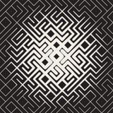 Línea redondeada blanco y negro inconsútil pendiente del vector de Maze Irregular Pattern Halftone Circular Fotos de archivo