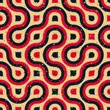 Línea redondeada pendiente de semitono inconsútil rojo azul irregular Tan Grungy Pattern del vector Foto de archivo