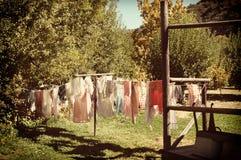 Línea retra del lavadero Fotografía de archivo libre de regalías