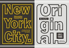 Línea retra gráfica tipografía para la camiseta, emblema, Fotos de archivo