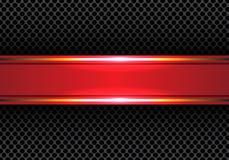 Línea roja abstracta bandera del oro en vector de lujo moderno de la textura del fondo del diseño de la malla del círculo Foto de archivo