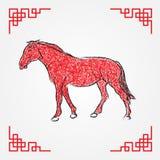 Línea roja arte, zodiaco del dibujo de la tinta del caballo Foto de archivo libre de regalías