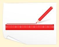 Línea roja de drenaje regla del lápiz ilustración del vector