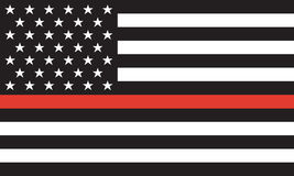 Línea roja fina bombero Flag Vector Imagen de archivo libre de regalías