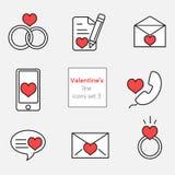 Línea roja gris de los ejemplos set3 de los iconos de la tarjeta del día de San Valentín Foto de archivo libre de regalías