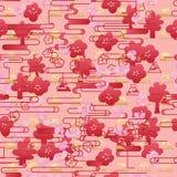Línea roja modelo inconsútil de Japón Sakura del estilo horizontal stock de ilustración