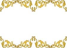 Línea romana diseño del modelo del estilo del vintage de la vieja del oro del marco del estuco cultura griega antigua de las pare Fotografía de archivo