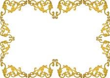 Línea romana diseño del modelo del estilo del vintage de la vieja del oro del marco del estuco cultura griega antigua de las pare Foto de archivo libre de regalías