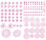 Línea rosada sistema de la acuarela Fotografía de archivo libre de regalías
