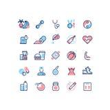 Línea sana iconos del vector de la vida y de la aptitud Imagen de archivo libre de regalías