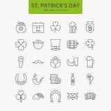 Línea santo feliz Patrick Day Icons Big Set stock de ilustración