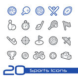Línea serie de //de los iconos de los deportes Imagenes de archivo