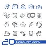 Línea serie de //de los iconos del ordenador Imágenes de archivo libres de regalías
