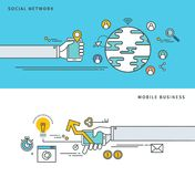 Línea simple diseño plano de la red social y del negocio móvil, ejemplo moderno del vector Fotografía de archivo libre de regalías