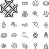 Línea simple iconos de la confitería stock de ilustración