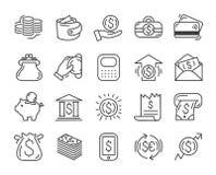 Línea simple sistema de los iconos del dinero - moneda del dólar, finanzas stock de ilustración