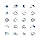 Línea simple sistema del icono del tiempo Ilustración del vector Meteorología s ilustración del vector
