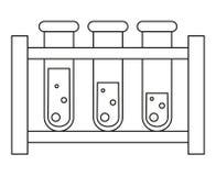 Línea sistema blanco y negro del tubo de ensayo de la sangre del arte stock de ilustración
