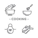 Línea sistema de cocinar negro del icono Fotografía de archivo