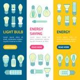 Línea sistema de diversa lámpara o de las bombillas de Vecrtical de la bandera de los iconos Vector ilustración del vector