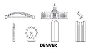 Línea sistema de Estados Unidos, Denver del horizonte del viaje Ejemplo del vector de la ciudad del esquema de Estados Unidos, De stock de ilustración