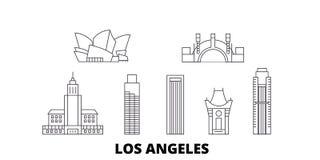 Línea sistema de Estados Unidos, Los Angeles del horizonte del viaje Ejemplo del vector de la ciudad del esquema de Estados Unido libre illustration
