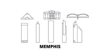 Línea sistema de Estados Unidos, Memphis del horizonte del viaje Ejemplo del vector de la ciudad del esquema de Estados Unidos, M libre illustration