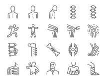 Línea sistema de la ortopedia del icono Incluyó los iconos como osteoartritis, la rehabilitación médica, el fasciitis plantar, le stock de ilustración