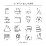 Línea sistema de las fuentes de energía del icono Imagenes de archivo