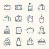 Línea sistema de los bolsos del icono Imagen de archivo libre de regalías