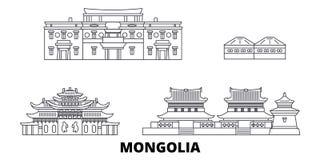Línea sistema de Mongolia del horizonte del viaje Ejemplo del vector de la ciudad del esquema de Mongolia, símbolo, vistas del vi stock de ilustración