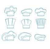 Línea sistema de White Hats Thin del cocinero Vector ilustración del vector