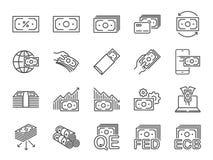 Línea sistema del dinero del icono Iconos incluidos como el efectivo, renta pasiva, banco, billete de banco, moneda y más ilustración del vector